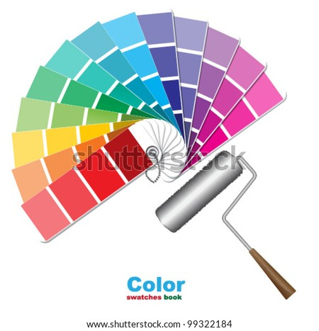Color swatches and paint roller brushes - stock vector