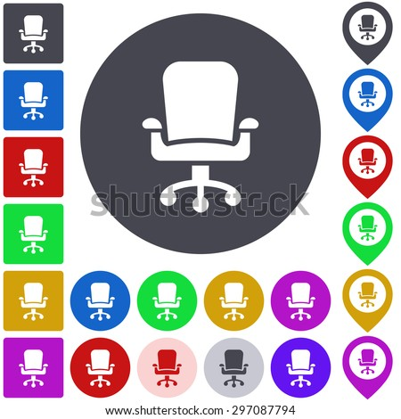Color swivel chair icon, button, symbol set. Square, circle and pin versions. - stock vector