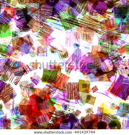 Color texture. White backdrop. Stains of strokes. Different forms and sizes. Predominance of square shapes. Abstract seamless vector pattern. Easy editing. Hatch, overlay, transparency, overlap. - stock vector