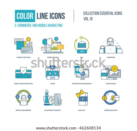 Color flat line icons set creativity stock vector for E commerce mobili
