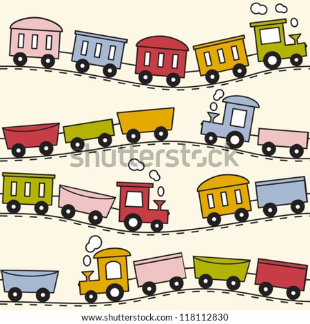 Color trains, wagons and rails - seamless pattern - stock vector
