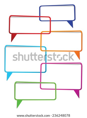 color transparent speech bubbles in conversation  - stock vector