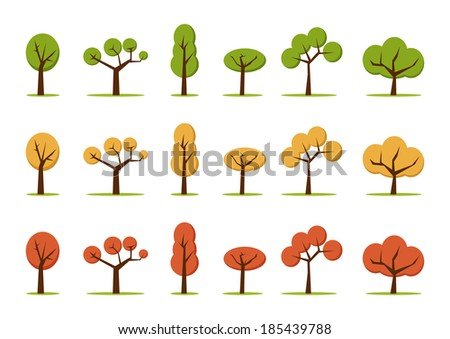 color trees set, in three colors - stock vector