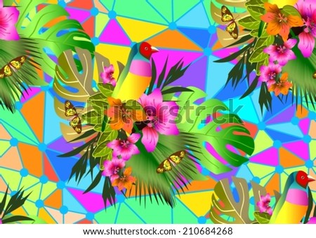 Color tropical flowers and leaves seamless background, bright vibrant kaleidoscope illustration, VECTOR - stock vector