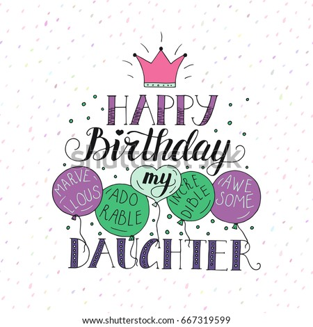 Color vector birthday card daughter unique stock vector 667319599 color vector birthday card for daughter unique lettering poster with a phrase happy birthday bookmarktalkfo Choice Image