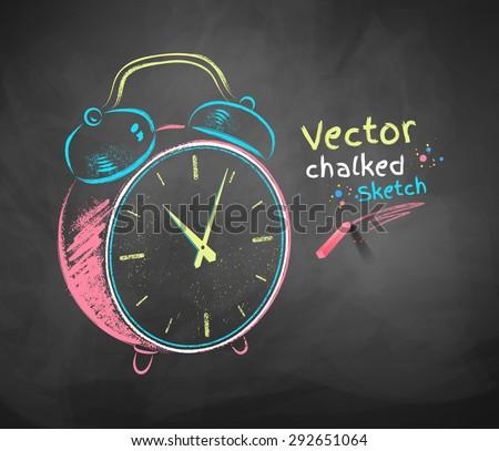 Color vector chalkboard drawing of alarm clock.  - stock vector