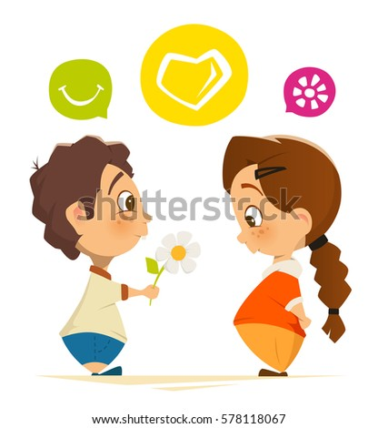 Color vector character design illustration of cute boy and girl in love
