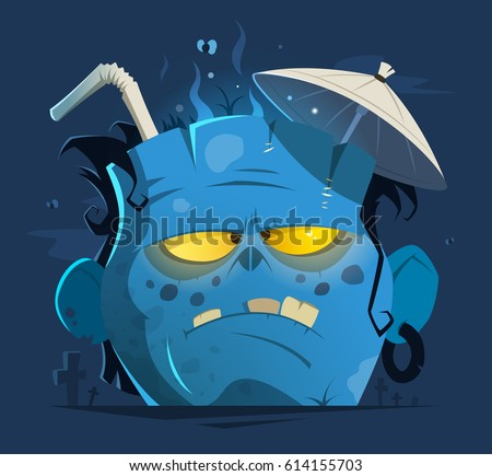 Color vector character illustration of cut off angry zombie head