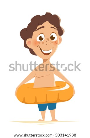 Color vector character illustration of happy smile beautiful boy child kid standing with yellow swim ring. Fun in water park.