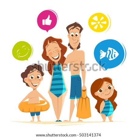 Color vector character illustration of happy smile healthy family on summer vacation