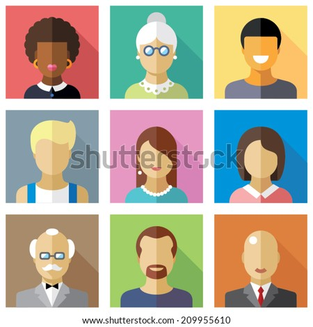 Color vector flat icon set and illustration different people character: female, male, child, boy, girl, grandmother, grandfather, student, businessman, housewife, hired worker - stock vector