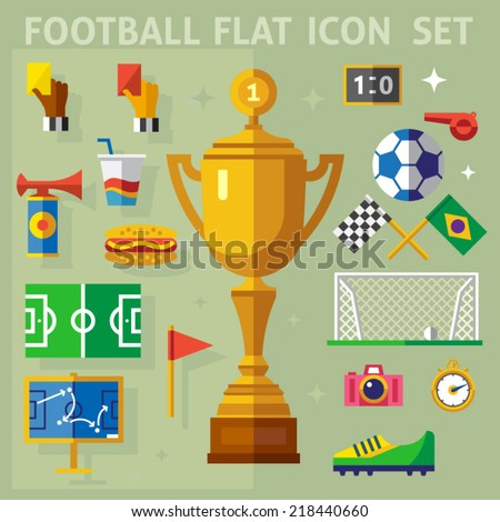 Color vector flat icon set and illustrations football match: cup, team, judge, coach, fans, whistle, gate, ball, flags, yellow and red cards, field, stopwatch, strategy. - stock vector