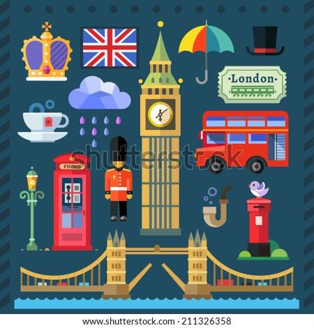Color vector flat icon set and illustrations Great Britain Kingdom, London Capital: Big Ben, Tower Bridge, Thames, Queen, flag, English tea, red bus, telephone box, post box, rain, umbrella. - stock vector