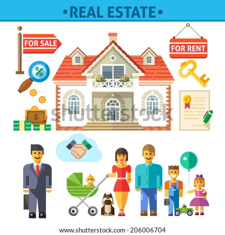 Color  vector flat illustrations and icon set real estate: buy, sell, rent,  luxury house, key, money, savings, interest, mortgage, loan, contract, happy family, realtor, agent, transaction - stock vector