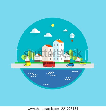 Color vector flat illustrations urban.Landscapes by the sea.Modern urban landscape. - stock vector