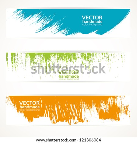 Color vector handmade abstract brush strokes banners - stock vector