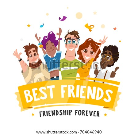 Color vector illustration group team happy smile teenagers students friends