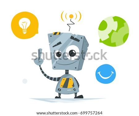 Color vector illustration of cute little robot