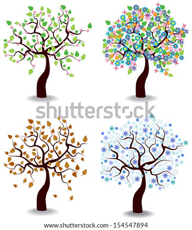 color vector illustration of four season trees isolated on white background - stock vector