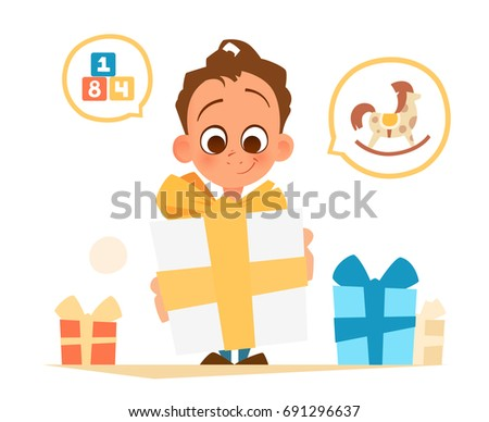 Color vector illustration of happy boy holding big gift box