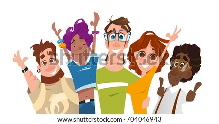Color vector illustration of happy smile successful modern team of students friends