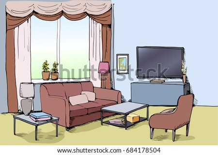 Color Vector Illustration Modern Living Room Stock Vector ...