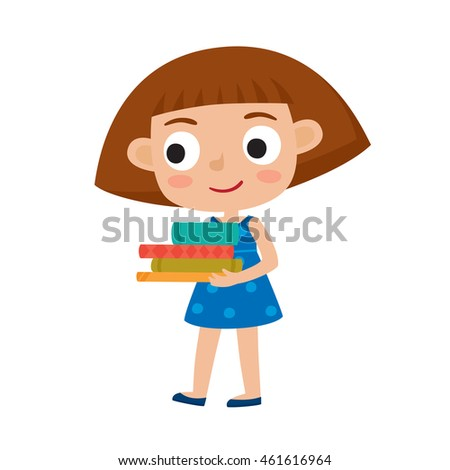 Color vector illustration of pretty girl stand with books. Happy hipster kid isolated on white background. Funny cartoon character used for child books, stickers, posters.