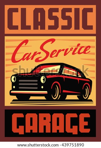 color vector illustration of retro car poster - stock vector