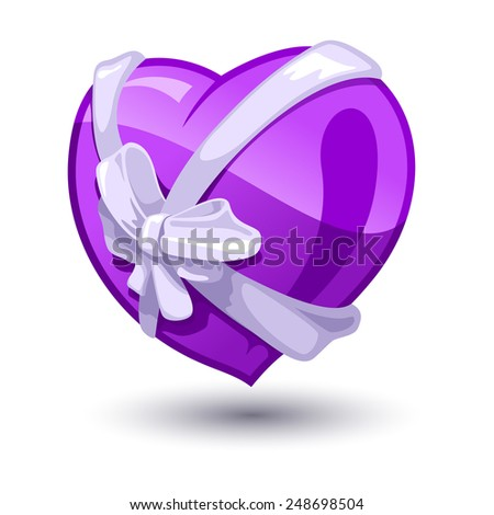 Color vector illustration of Valentine heart with a bow-knot