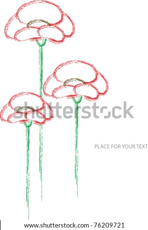 color vector illustration with red poppy flowers and place for your text - stock vector