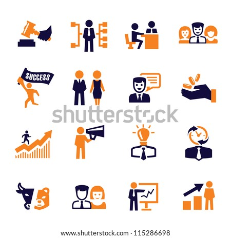color vector office and business icons set - stock vector