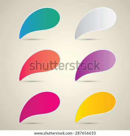 color vector paper speech bubble set. - stock vector