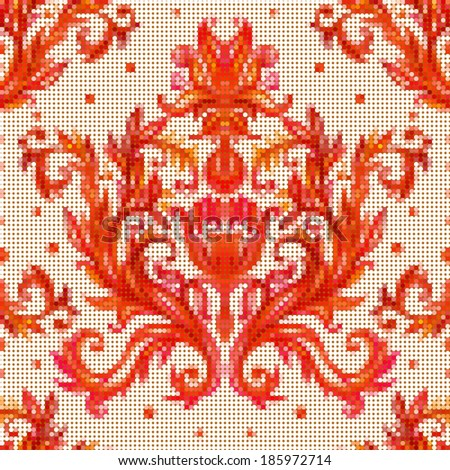 Color vector pattern with traditional embroidery elements. Baroque vintage floral background.  - stock vector