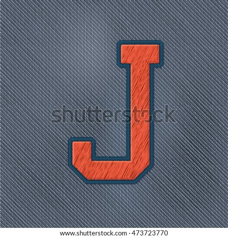 Color Vector Realistic Embroidery Patch Alphabet. Editable Colors. Letter J