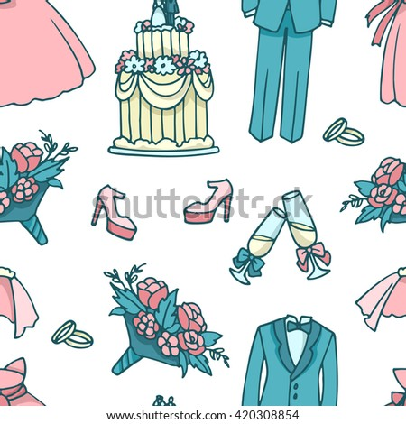 Color vector seamless pattern with wedding accessories. - stock vector