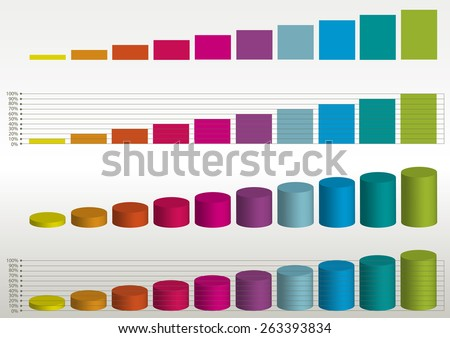 color vector statistics graphs - stock vector