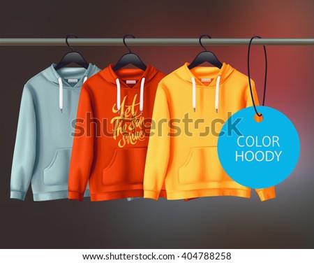 Color vector unisex hoody design template. - stock vector