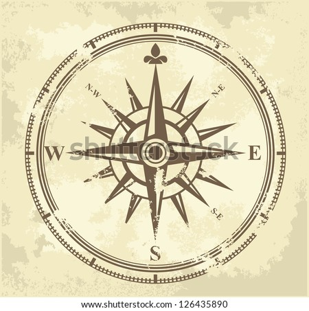 color vector vintage compass on grunge background - stock vector