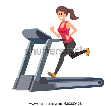 color vector young woman running on treadmill - stock vector