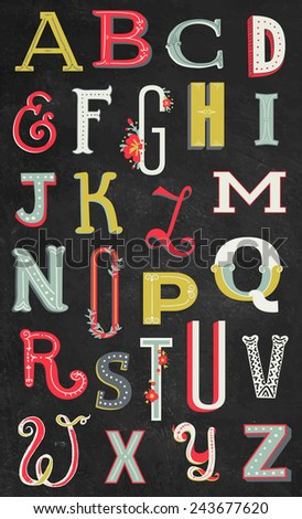 Color Vintage Alphabet  - stock vector