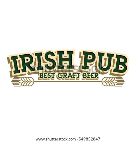 color vintage irish pub emblem