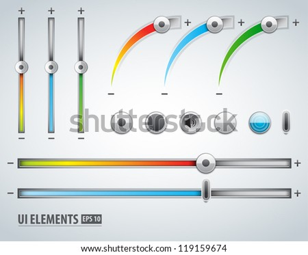 Color Volume Controls UI and web elements on grey background - stock vector