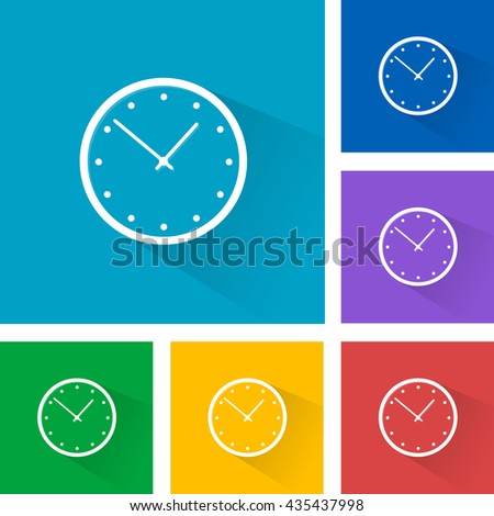 Color wall clock - isolated objects. Illustration. Flat design.  - stock vector