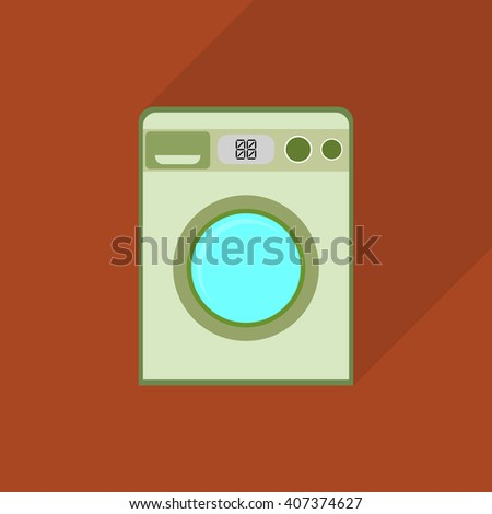 color washing machine icon with shadow