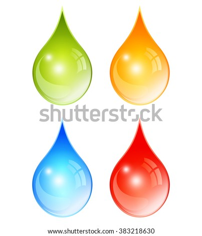 Color water drop set, vector illustration isolated on white background - stock vector
