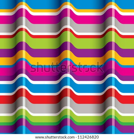 Color waves seamless pattern, retro vector background. - stock vector
