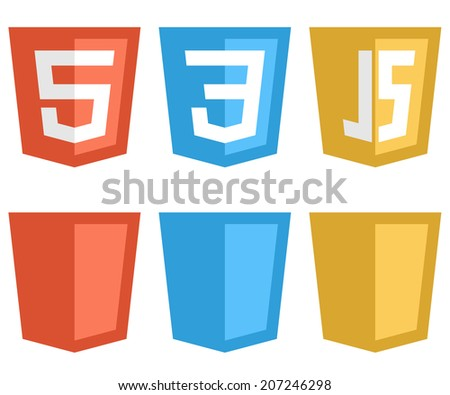 Color web technology shield shaped signs isolated on white background. HTTP5, CSS3 and Javascript icons. - stock vector