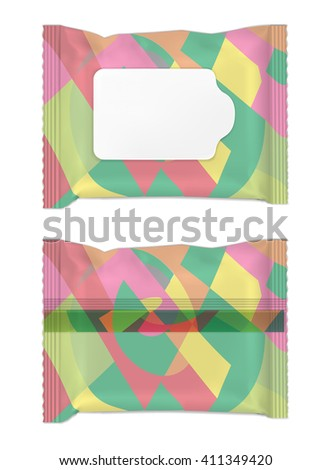 Color wet wipes package with flap. - stock vector
