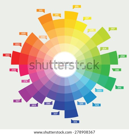 Color Wheel Circle Infographic Flat Vector Design Template