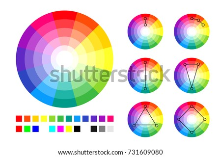 Color Wheel Schemes And RGB CMYK Palette